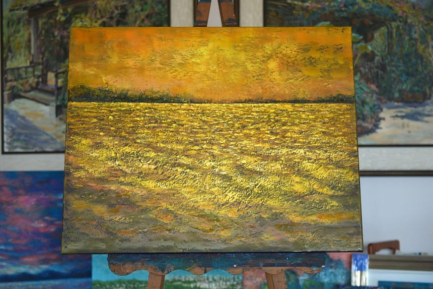 One of the works from the Sunrise series (above) by China-born oil painter Wu Xueli.