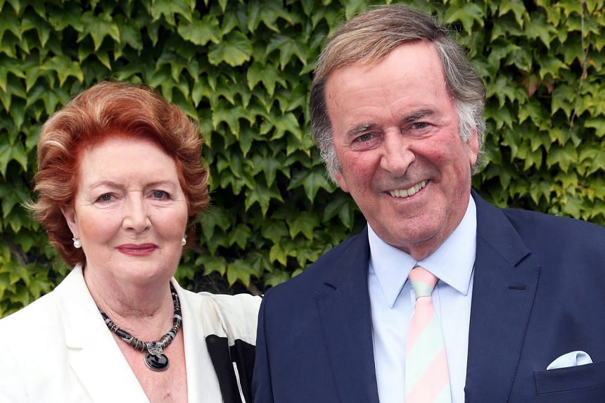 BBC presenter Terry Wogan and his wife Helen in a 2014 picture taken in London.