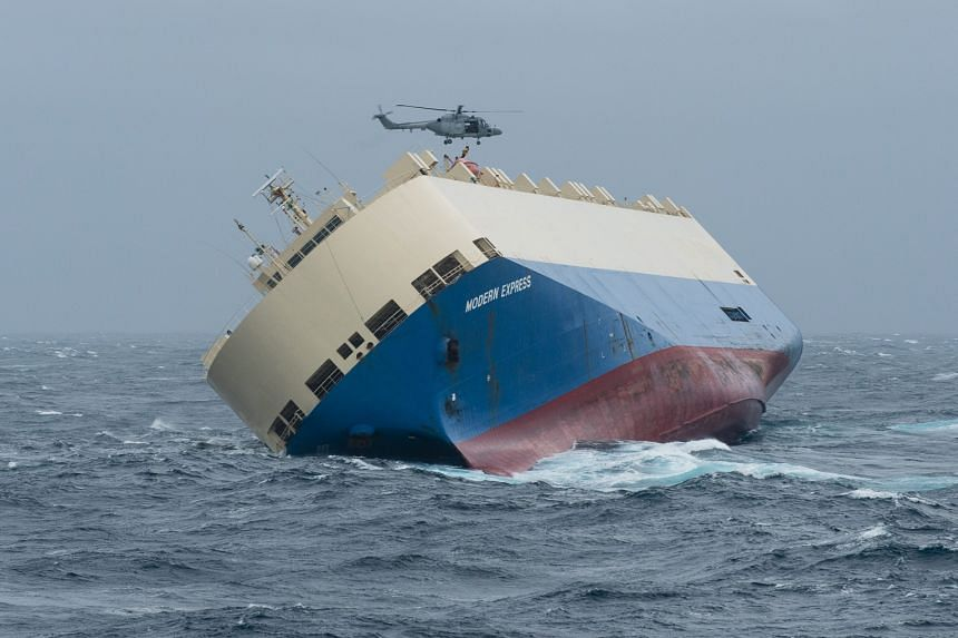The Modern Express had been adrift since Jan 26. The crew were evacuated by air.