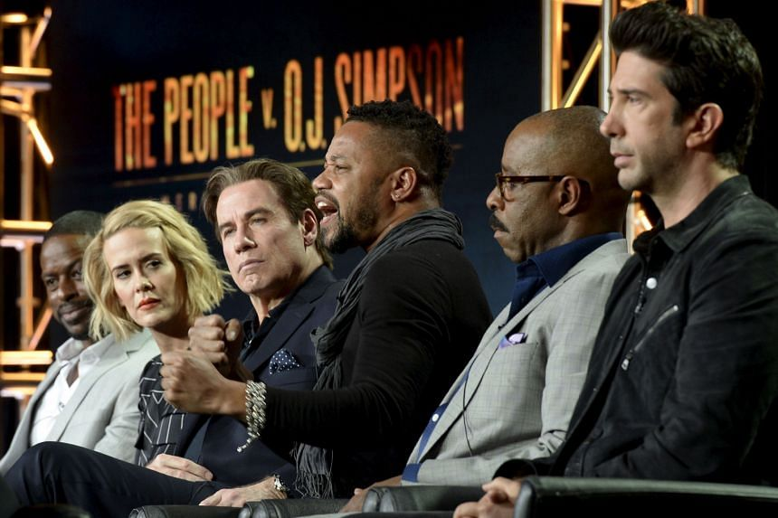 Cuba Gooding Jr. (centre), lead star in The People V. O.J. Simpson: American Crime Story, with cast members (from far left) Sterling K. Brown, Sarah Paulson, John Travolta, Courtney B. Vance and David Schwimmer during the Television Critics Associati