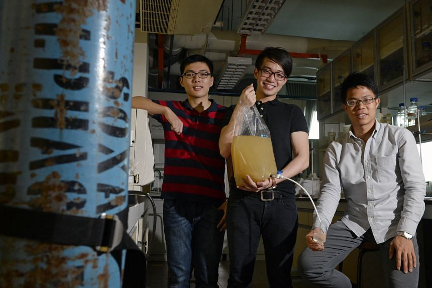 From far left: Mr Vincent Loka, Mr Lim Chong Tee and Mr David Pong are part of the team behind local start-up WateROAM, which designs portable water-filtration systems. WateROAM was one of the groups featured as part of the project last year.