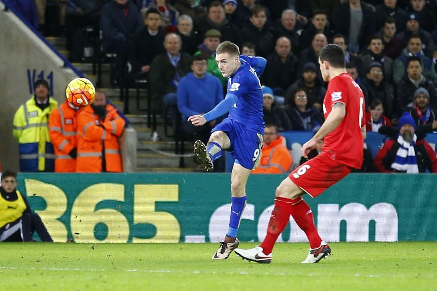 Jamie Vardy scoring his much-lauded goal against Liverpool on Tuesday. His opportunistic streak and his dynamism have provided much of the vital momentum for outsiders Leicester this season.
