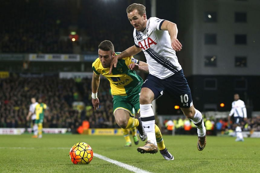 Tottenham's Harry Kane tussling for the ball with Norwich's Ivo Pinto during their league game on Tuesday. He scored a brace in the 3-0 win and will be looking to get on the scoresheet again when his side face Watford today.