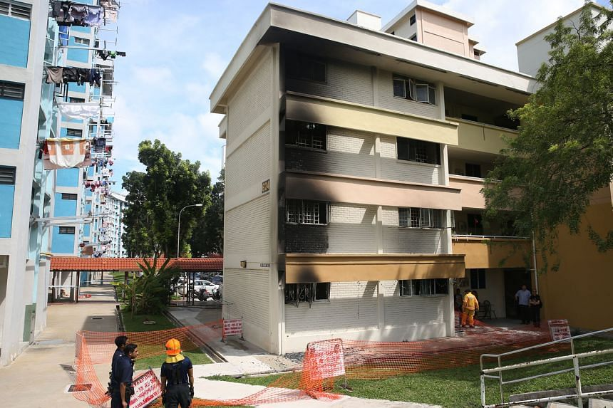 The fire in the ground-floor unit in Bedok Reservoir Road caused damage to the flats above as well. No one was injured.