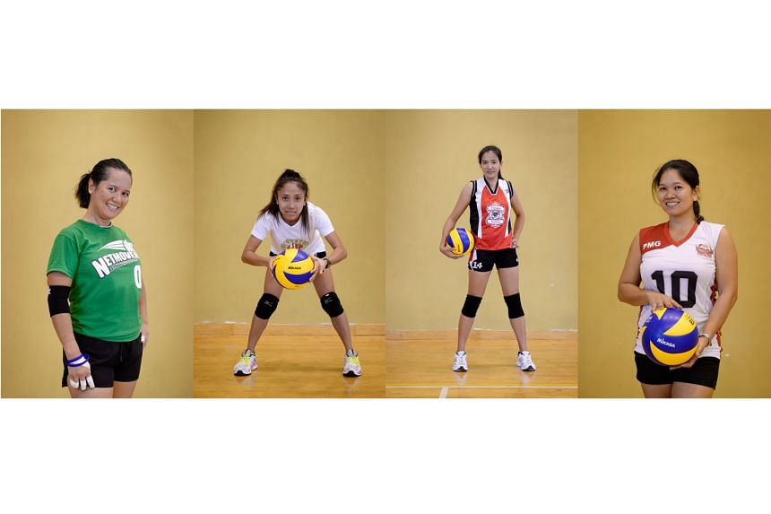 (From left) Netmovers Singapore's Alfie Domingo, Blockers Angels' Chelame Aquilo, Furious Fighters' Dinalyn Salvilla and Power Mix Group's Malou Marquez play in the all-women Sports@Sg volleyball league.