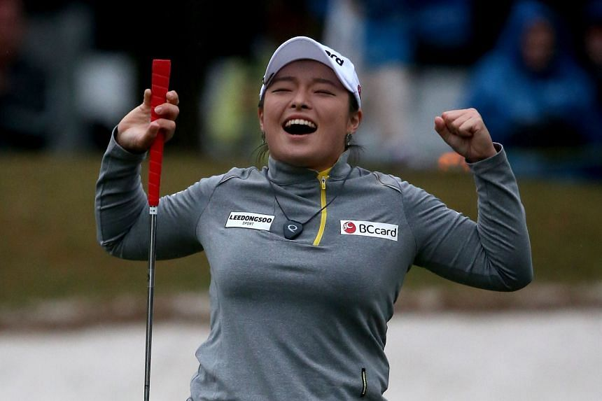 An ecstatic Jang Ha Na after sinking a birdie putt to clinch her first LPGA Tour title. She had had four runner-up placings last year and found her inability to break through - while many of her Korean friends won on the tour - heartbreaking.