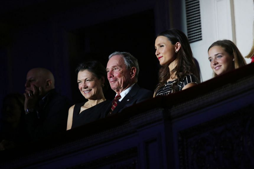 Billionaire Michael Bloomberg, flanked by partner Diana Taylor and his daughter Georgina, at a charity event at Carnegie Hall in New York last December. The state of play in the presidential election has prompted the media mogul to consider a third-p