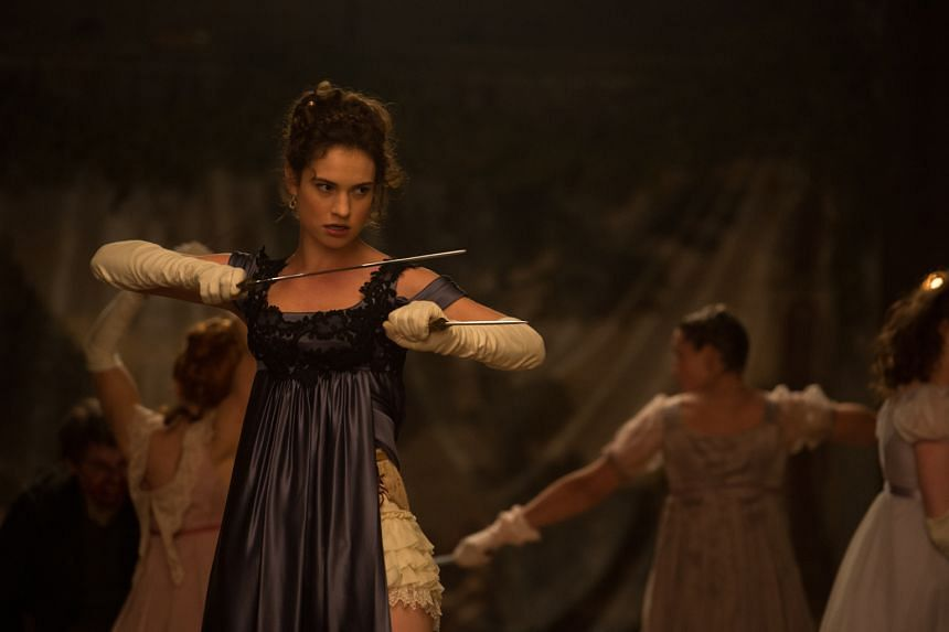 Lily James fights the undead as Elizabeth Bennet in Pride And Prejudice And Zombies.