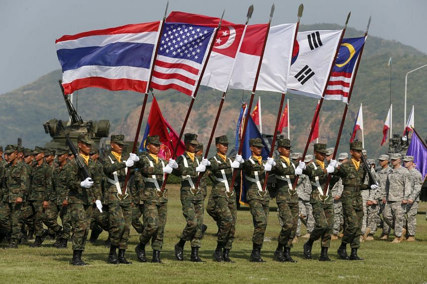 Thai soldiers participating in the opening ceremony for the Cobra Gold military exercise in Chonburi, east of Bangkok, yesterday. Twenty-seven countries are taking part, either directly or as observers.