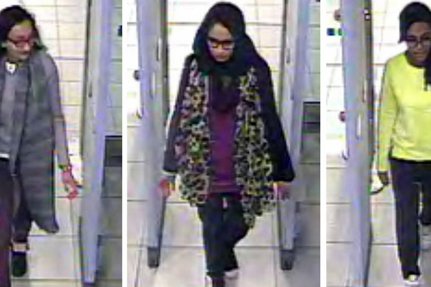 Bethnal Green Academy schoolgirls (from left) Khadiza Sultana, Shamima Begum and Amira Abase passing through security at Gatwick Airport before flying to Turkey, en route to Syria to join ISIS in February last year. One of their friends in school had