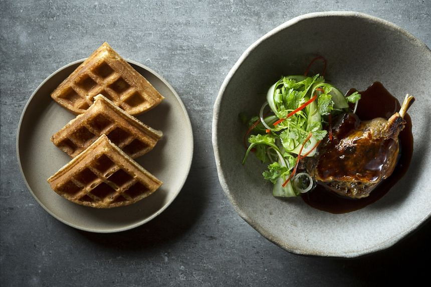 Chef's signature Duck & Waffles
