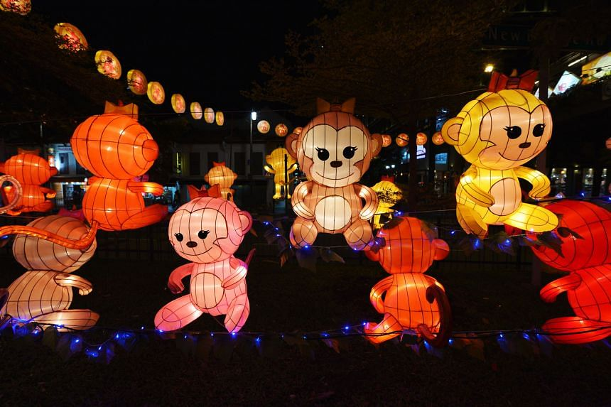 Take home these cute monkey lanterns (right and below) and, if you have space in your compound, you can even request one of the seven 6m-tall peach tree lanterns (above). Organisers of the Chinese New Year festival in Chinatown hope to promote recycl