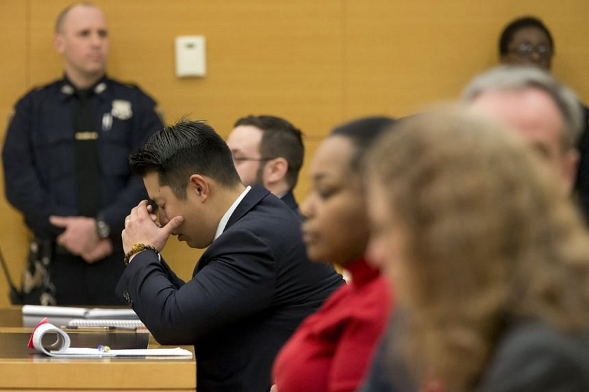 Liang crumpling in his seat in the State Supreme Court in Brooklyn after the verdict was delivered on Thursday. He was convicted of manslaughter and official misconduct for fatally shooting an unarmed black man, Akai Gurley.