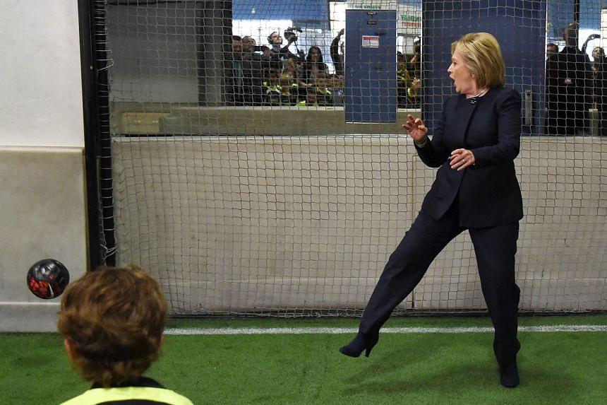 Contender Hillary Clinton playing goalkeeper at the Las Vegas Indoor Sports Centre in Nevada on Saturday, ahead of the state's party caucus on Feb 20. She has said a vote for her is a vote for safe hands, given her years in government.