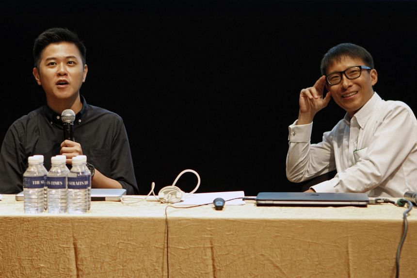 Mr Desmond Lim (far left) and Mr Alphonsus Chern were among the Straits Times photojournalists who yesterday conducted talks which featured topics such as covering disasters and how photojournalism has changed in a digital age.