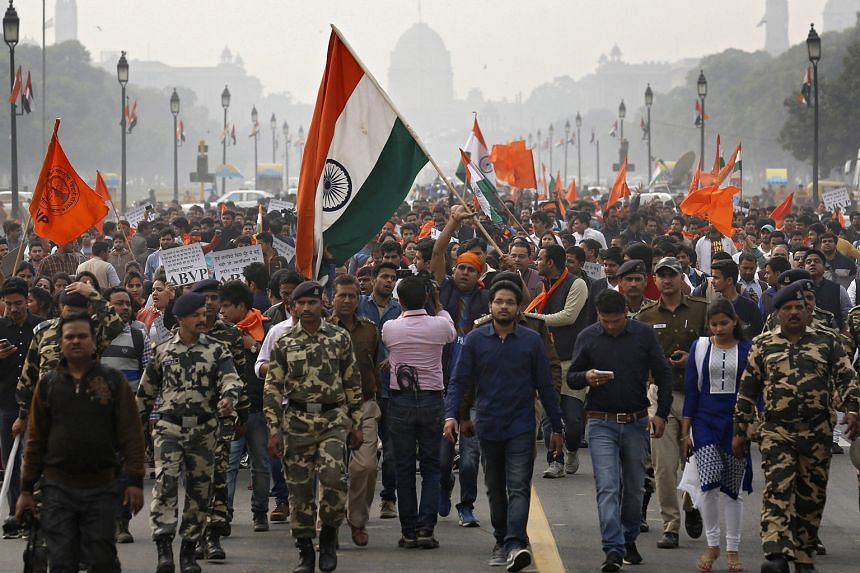 Activists of the right-wing Akhil Bhartiya Vidyarthi Parishad participating in a protest march in Rajpath, the ceremonial boulevard in New Delhi, last Friday against a group of Jawaharlal Nehru University students for allegedly shouting anti-national