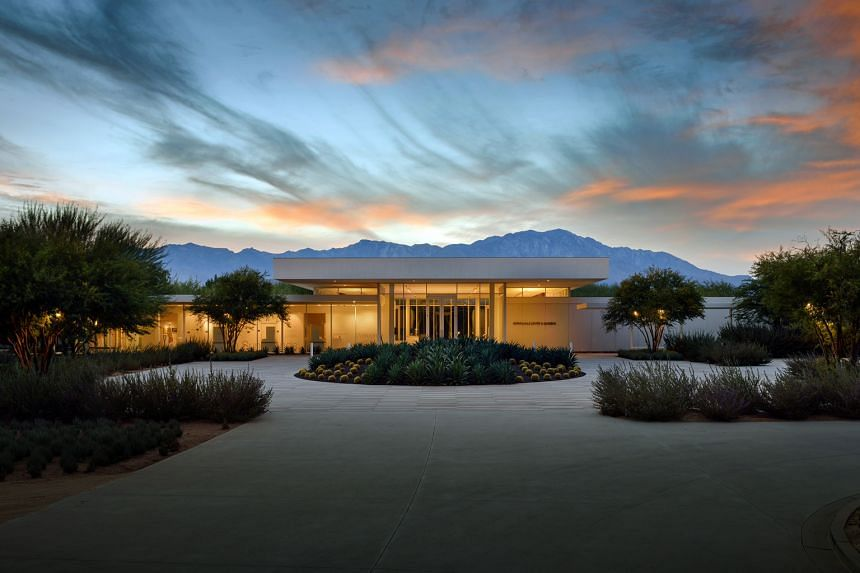 Front view of Sunnylands Centre at dusk. Mr Obama has become a loyal visitor to the lush Sunnylands estate in Rancho Mirage, California, and has used it to confer with world leaders.