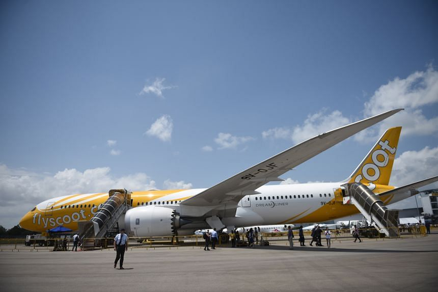 Scoot's Dreamliner at the Singapore Airshow. The budget carrier will take delivery of two Boeing 787s this year and another four next year to support its expansion plans.