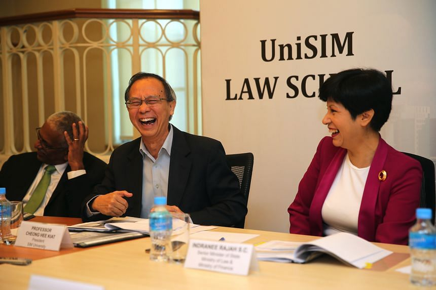UniSIM is considering co-locating its new law school at the State or Family Justice courts being built in Havelock Road (left), a recommendation put forward by a panel including (below, from left) Senior Counsel N. Sreenivasan, UniSIM president Cheon
