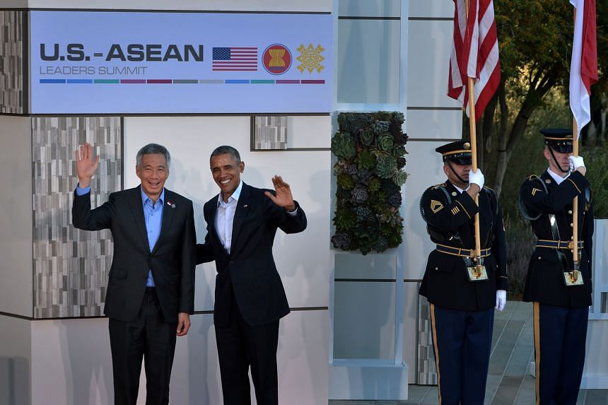 President Obama and PM Lee at the entrance of the Sunnylands estate in California, as foreign delegates arrived for the US-Asean summit on Monday. The summit - the first time that the US has hosted Asean heads of government - has been hailed as an im