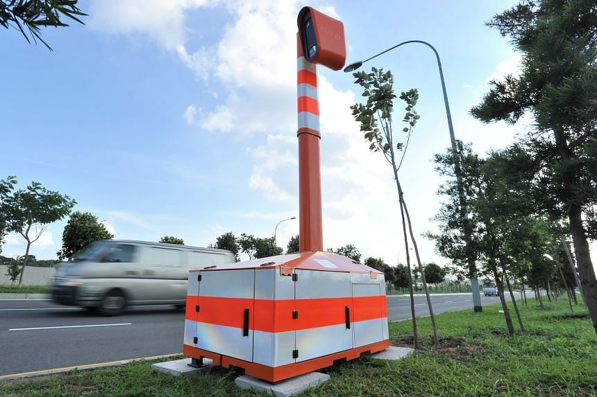 The mobile speed camera deployed in Seletar Link, a hot spot for illegal racing. Two others have yet to be deployed. The cameras are part of a new targeted approach to curb speeding.