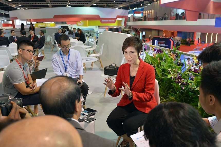 Senior Minister of State for Transport Josephine Teo talking to the media yesterday at the Singapore Airshow. She said that apart from Singapore beefing up its air traffic management capabilities, it is also vital for Asean countries to cooperate to