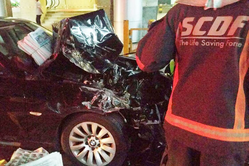 """The car driver involved in the crash (above) was arrested for """"causing death by a negligent act"""", said police."""