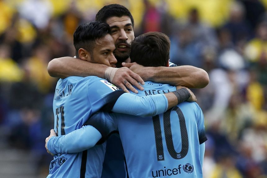 Neymar celebrating with team-mates Luis Suarez and Lionel Messi after his goal, which turned out to be the winner. His visibly jaded team have played 17 games in the last two months. Still, Arsenal will have to stop this trio to get a good result in