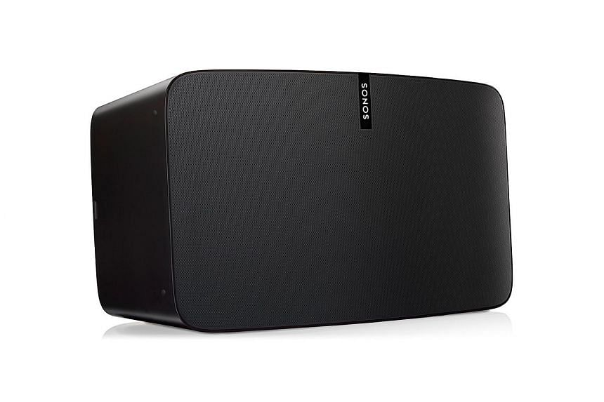 The new Sonos Play:5 has the same width and height as the original but is now thicker and can be propped up three ways: horizontally or on either side.