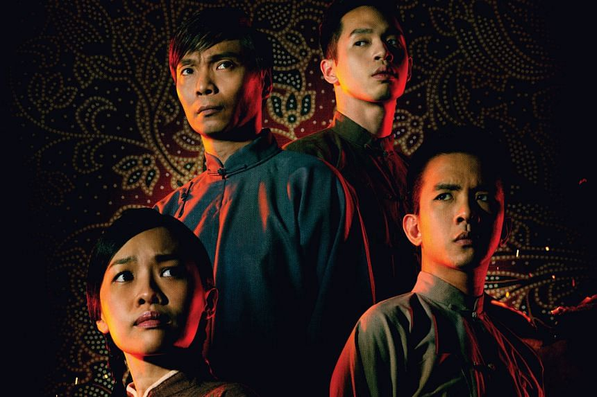 Seeing red: (clockwise from left) Mia Chee, Tay Kong Hui, Timothy Wan and Hang Qian Chou in Nine Years Theatre's Red Demon.