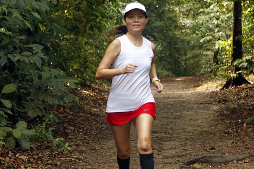 Ms Yap runs at least three times a week to stay fit so that she is always ready to join a running event.