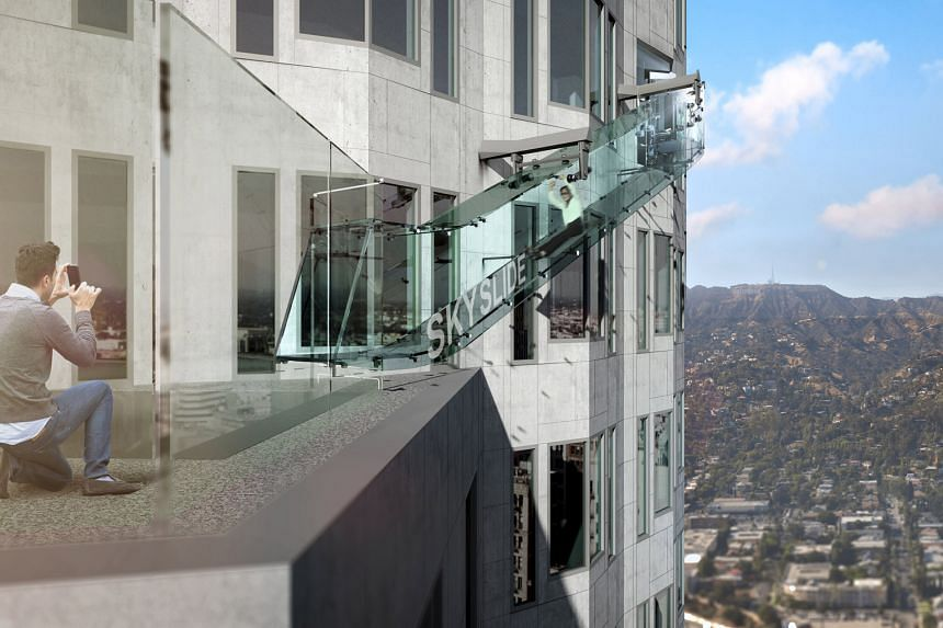 An artist's rendering of the Skyslide attraction, which is more than 300m above downtown Los Angeles.