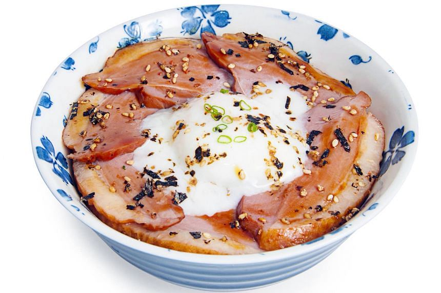 Japanese-style glazed duck with onsen egg bowl ($14.80)