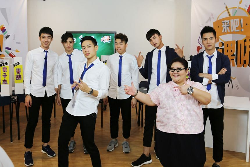 Online variety show Freshmen stars (from left) Gavin Teo, Zong Zijie, Jerald Foo, Timothy Chan, Aloysius Pang, Michelle Tay and Xu Bin.