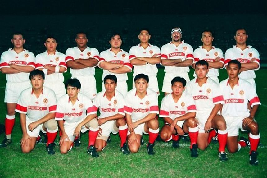 Some might have larger waistlines and others thinner hair but the passion and enthusiasm of the Singapore rugby team of 1997 (below, against China) were in evidence when they met last week (above).