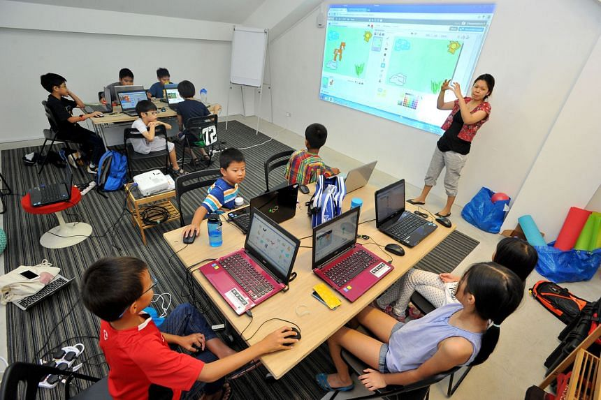 Children attending a coding class organised by Saturday Kids last June. Rising demand has led coding schools to provide regular weekly classes or workshops throughout the year rather than only during the holidays. Children are taught Scratch programm