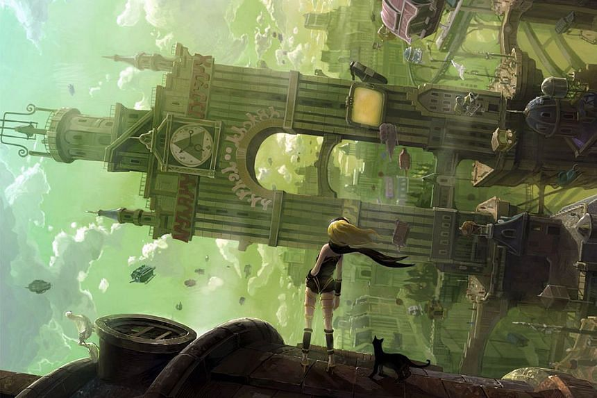 The game's cel-shaded graphics (above and below) are modest, and the plot unfolds through static storyboard panels. But the game still manages to evoke a sense of wonder. Players will find that being able to manipulate gravity is surprisingly liberat