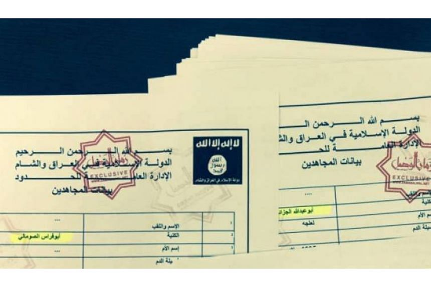 """The experts' biggest concerns were the different names, logo, and language inconsistencies in the leaked ISIS documents (left) that were described as """"very much out of character"""". (Below) ISIS recruits in an image from an ISIS video posted online. Co"""