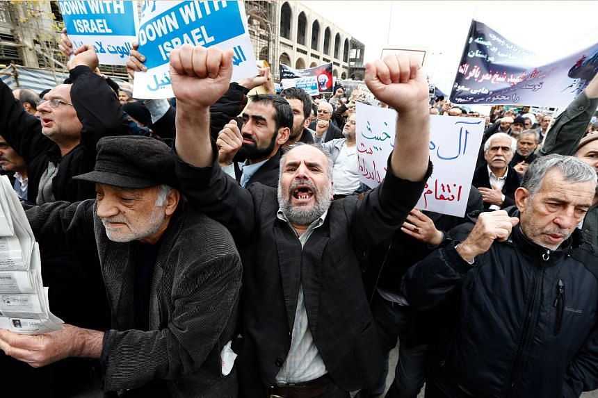 Iranian protesters shouting slogans during a demonstration in Teheran in January against the execution of prominent Shi'ite Muslim cleric Nimr al-Nimr by the Saudi authorities.