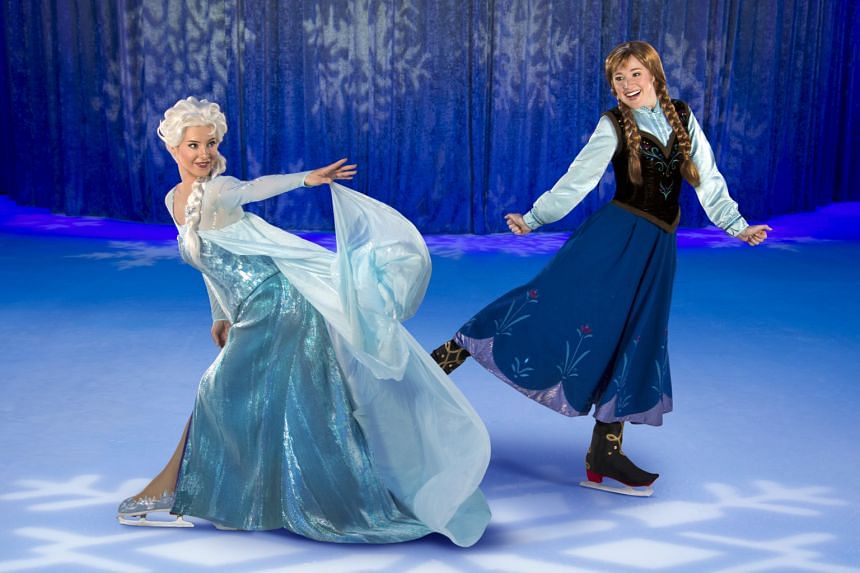 Sophia Adams as Elsa (far left, with Stina Martini as Anna), says she can now recite every single line from the movie Frozen.