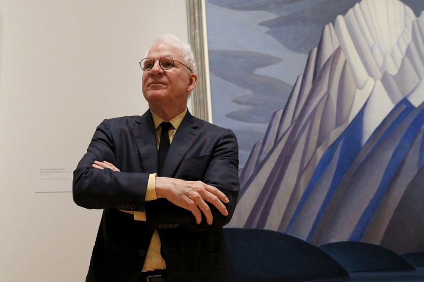 Actor Steve Martin talks about the paintings of Lawren Harris during a media preview of the Canadian artist's works.