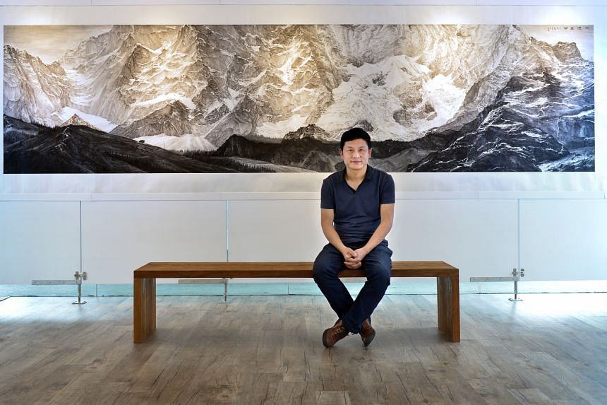 Chinese painter Gui Zhaohai's (above) works at his Singapore debut exhibition mostly depict scenes from the Sichuan-Tibetan Highlands.