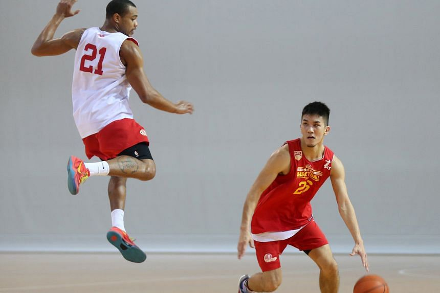 Singapore Slingers guard Ng Hanbin dribbles past his team-mate Xavier Alexander during a training session. The Slingers will be hoping home-court advantage will give them the edge over the Dragons as the Asean Basketball League finals series comes to