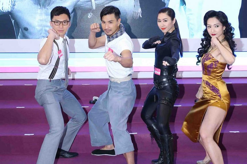 Showing off their acting chops at Filmart are A Fist Within Four Walls' (from left) Benjamin Yuen, Ruco Chan, Nancy Wu and Grace Wong.