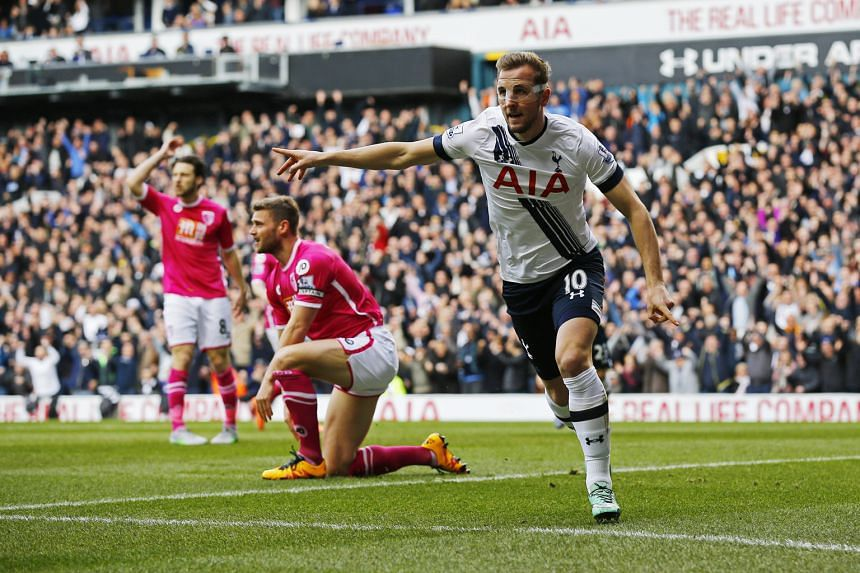 Tottenham's Harry Kane getting off the mark after only 44 seconds against Bournemouth. The 3-0 win kept up the pressure on Leicester.