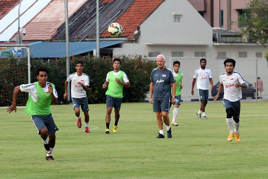 Coach Bernd Stange supervising national football team training ahead of Thursday's friendly against Myanmar and their last World Cup qualifier against Afghanistan next Tuesday.