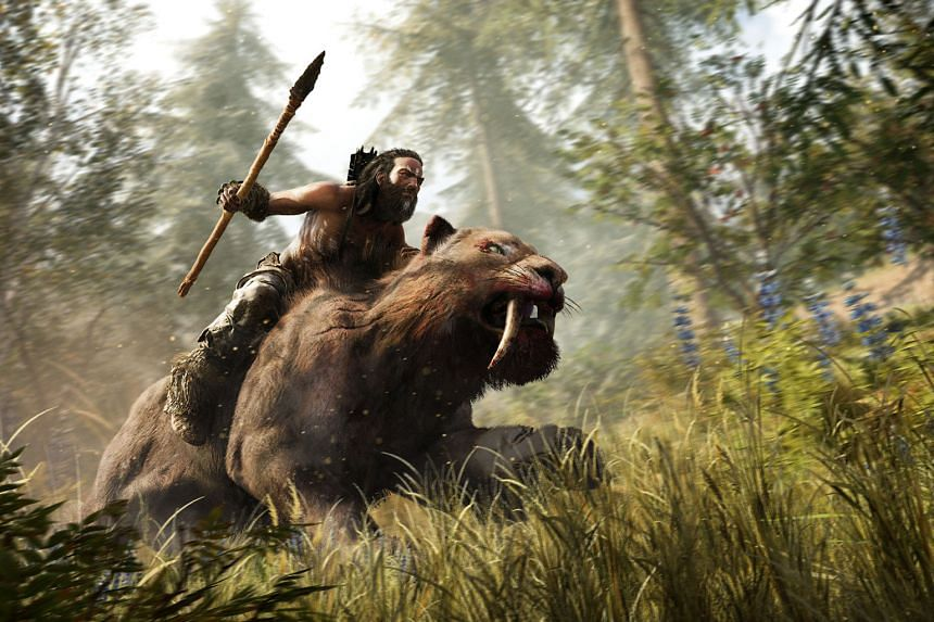 Far Cry Primal occurs in the fictional Oros valley during the Stone Age. The main character Takkar (left) has the ability to tame and ride certain wild beasts, such as the sabretooth tiger and the woolly mammoth (below).