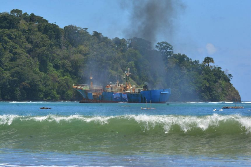 Illegal fishing ship FV Viking being destroyed in Pangandaran, West Java, in a photo from Indonesia's Ministry of Maritime Affairs and Fisheries on March 16. Minister Susi Pudjiastuti has demanded China return the Kway Fey, which sparked the recent s