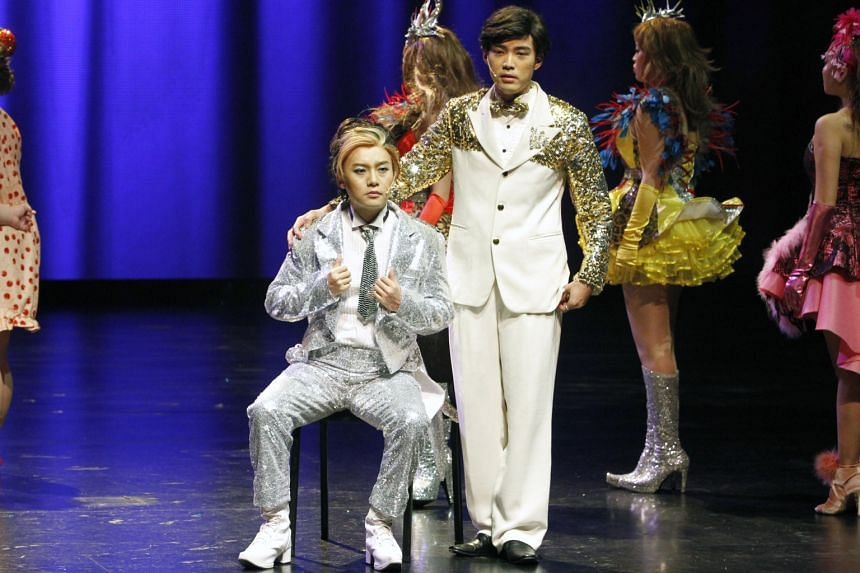 Real-life getai artist Hao Hao (seated) is the star of Ge Tai – The Musical, while Desmond Ng (standing) plays his mentor Liu Ge.