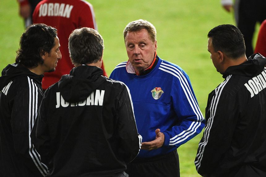 Jordan's interim coach Harry Redknapp (in blue) during a training session ahead of their World Cup qualifier against Australia at Allianz Stadium in Sydney. His team trail the Socceroos by two points.